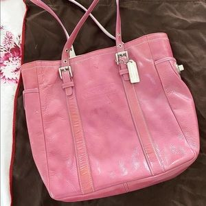 Patent leather Pink Coach handbag